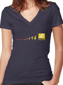 Nikon vs Canon Women's Fitted V-Neck T-Shirt