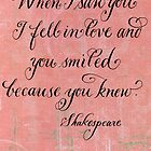 Romantic Shakespeare quote calligraphy art by Melissa Goza