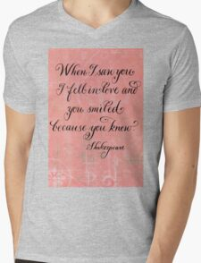 Romantic Shakespeare quote calligraphy art Mens V-Neck T-Shirt