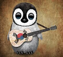 Baby Penguin Playing South Korean Flag Guitar by Jeff Bartels