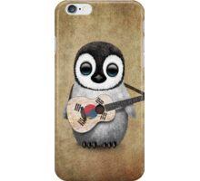 Baby Penguin Playing South Korean Flag Guitar iPhone Case/Skin