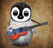 Baby Penguin Playing Slovenian Flag Guitar by Jeff Bartels