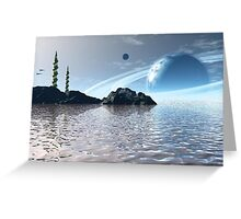 Alien Two Towers Greeting Card