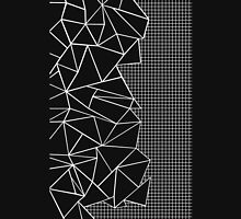 Abstract Grid on Side Black T-Shirt