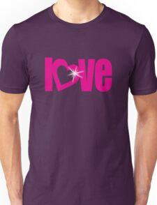 """love"" pink heart text sparkle bling Unisex T-Shirt"