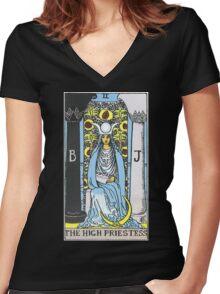 High Priestess Tarot Women's Fitted V-Neck T-Shirt