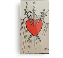 Three of Swords Tarot Metal Print