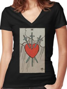Three of Swords Tarot Women's Fitted V-Neck T-Shirt