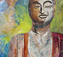 Buddha I: Original Mixed Media painting by Alyshia Hansen