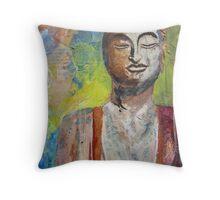 Buddha I: Original Mixed Media painting Throw Pillow