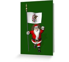 Santa Claus With Flag Of Illinois Greeting Card