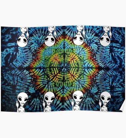 Tie Dye Alien Salute Poster