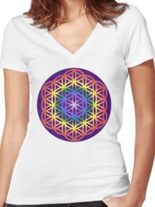 Chakra Flower of Life - Purple background Women's Fitted V-Neck T-Shirt