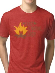 Crazy Camping Lady with camp fire and sticks Tri-blend T-Shirt