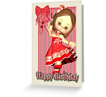 Red Birthday Card With Little Girl Greeting Card
