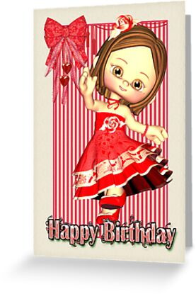 Red Birthday Card With Little Girl by Moonlake