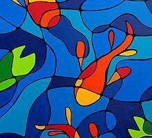 Koi Joi - Blue Koi Pond Orange Fish Art Print by Sharon Cummings