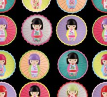 Japanese Kokeshi Dolls Sticker