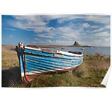 Boat on Holy Island Lindisfarne Poster