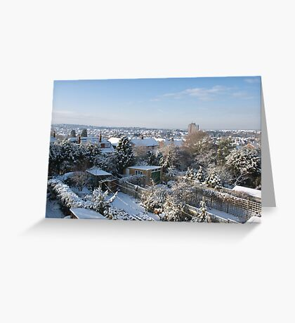Snow over Whitstable, Kent Greeting Card