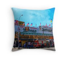 Nathan's Famous Frankfurters, Original Headquarters, Coney Island, Brooklyn, USA Throw Pillow