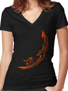 Flame Swoosh Women's Fitted V-Neck T-Shirt