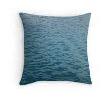 Solitary sailor in a little wooden boat. Throw Pillow