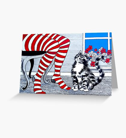 Tabby Cat and Striped Stockings Greeting Card