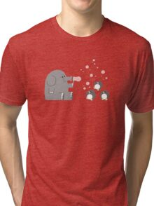 Elephants & Penguins love bubbles. Tri-blend T-Shirt