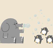 Elephants & Penguins love bubbles. by Schlogger