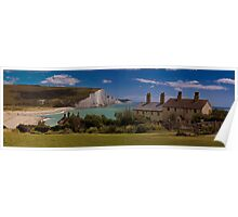 Coastguard Cottages and the Seven Sisters, England Poster