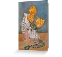 Tulips, Jade, and Books Greeting Card