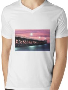 Grange Jetty: A fire in the sky Mens V-Neck T-Shirt