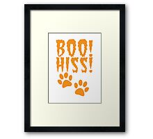 HALLOWEEN costume BOO HISS! in orange with catty paw prints Framed Print