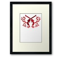Red pistol guns with thorns Framed Print