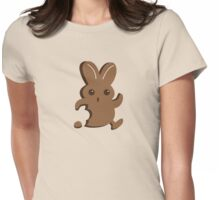 Running chocolate Easter bunny with a bite taken out Womens Fitted T-Shirt