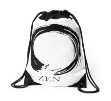 7 DAY'S OF SUMMER-YOGA ZEN RANGE- WHITE & BLACK ENSO Drawstring Bag