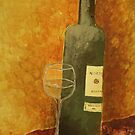Wine bottle and glass by moumita