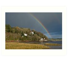 Dylan Thomas' Boathouse and Rainbow Laugharne Carmarthenshire Art Print