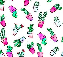 Cute pink green watercolour trendy cactus pattern  by GirlyTrend