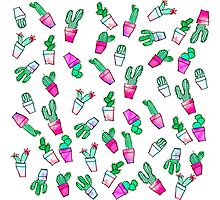 Cute pink green watercolour trendy cactus pattern  Photographic Print