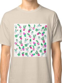 Cute pink green watercolour trendy cactus pattern  Classic T-Shirt