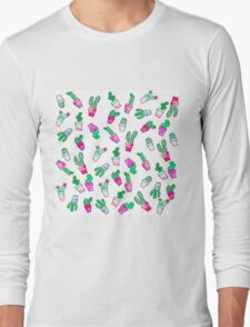 Cute pink green watercolour trendy cactus pattern  Long Sleeve T-Shirt