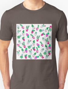 Cute pink green watercolour trendy cactus pattern  Unisex T-Shirt