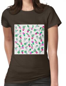 Cute pink green watercolour trendy cactus pattern  Womens Fitted T-Shirt