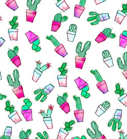 Cute pink green watercolour trendy cactus pattern  Sticker