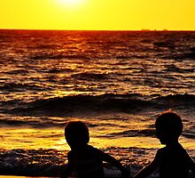 Playmates at Sunset by boofuls