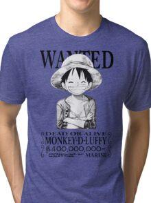 WANTED Luffy - Black Tri-blend T-Shirt