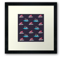 Snoozing on your new stuff Framed Print