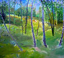 Birch trees on a Summer Day by Susan Wellington